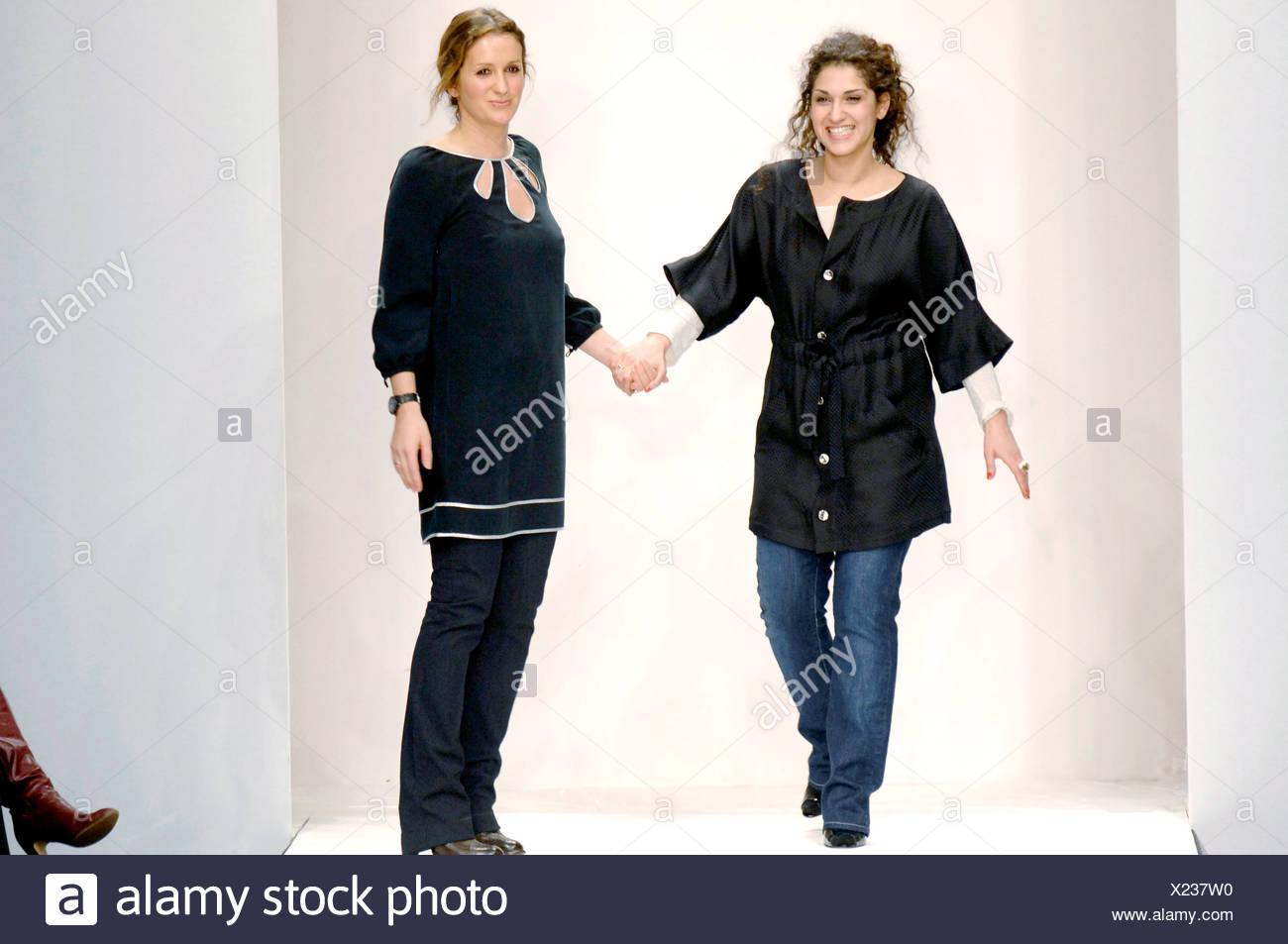 06aeed2cdc Gharani Strok London Ready to Wear Autumn Winter Designers Nargess Gharani  and Vanya Strok wearing black tops jeans standing at