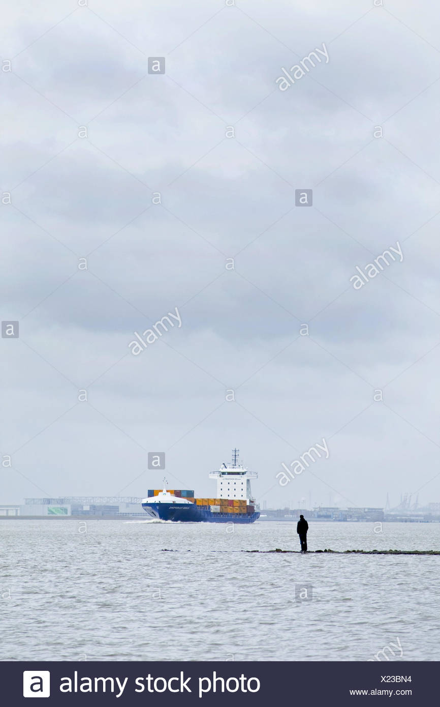 Germany, Hamburg, the Elbe, container ship, side view, heaven, cloudies, outside, harbour, river, waters, ship, container, transport, trade, economy, clouds, grey, dreary, people, - Stock Image