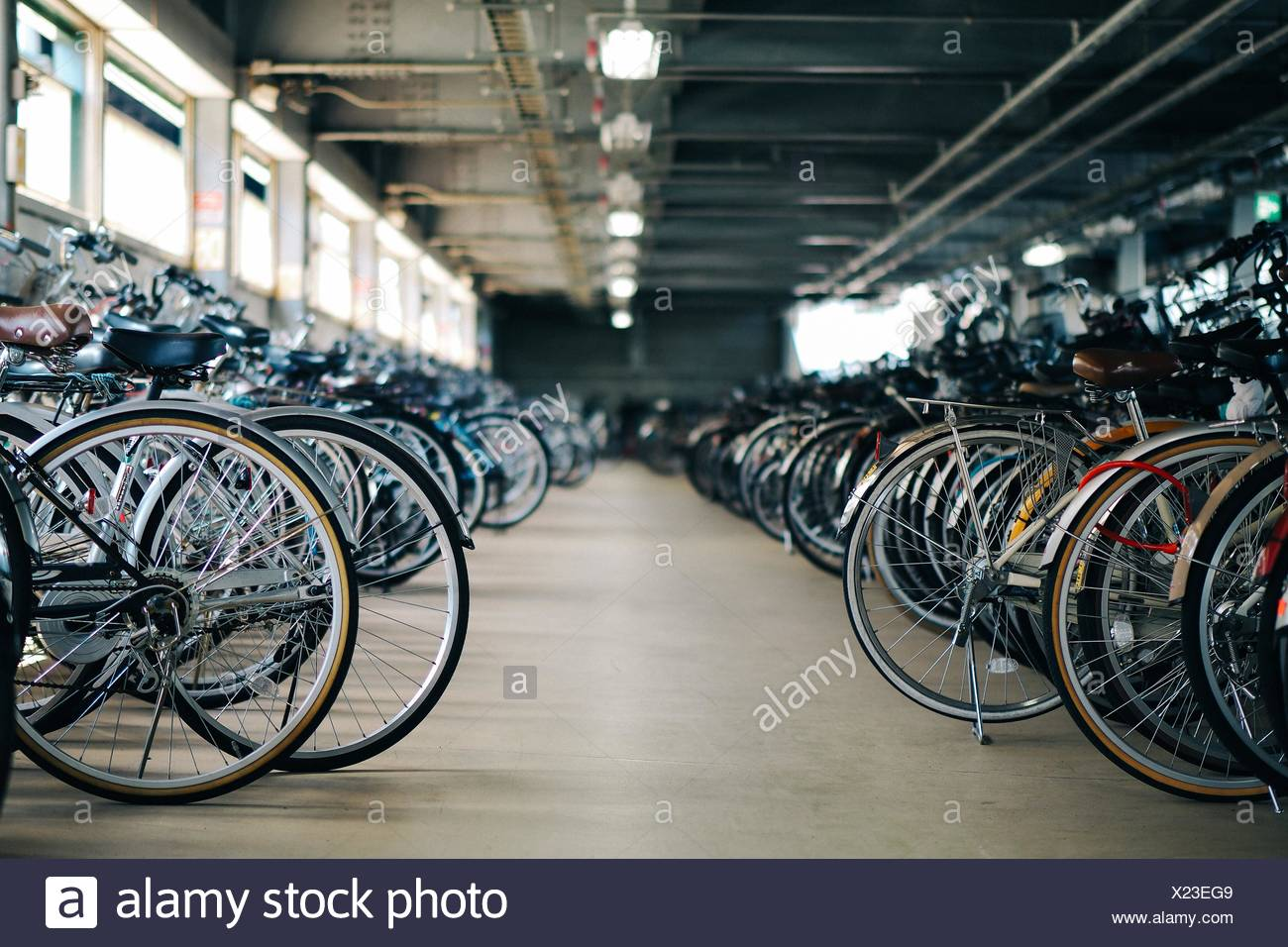 Interior Of Bicycle Parking Lot - Stock Image