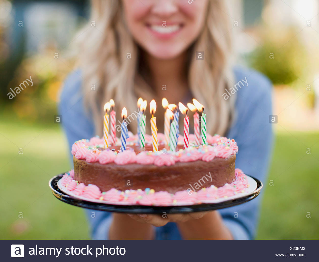 Terrific Usa Utah Provo Mid Section Of Young Woman Holding Birthday Cake Funny Birthday Cards Online Overcheapnameinfo