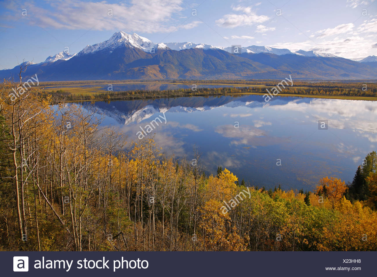 Pioneer Peak reflected in Jim Lake, Knik River Valley, SC, Alaska - Stock Image