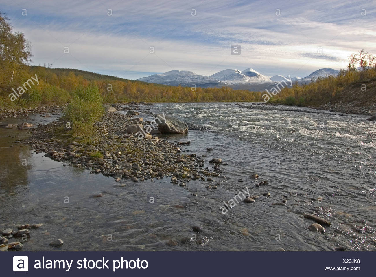 Photo of the Abisko rivier in northern Lapland Stock Photo