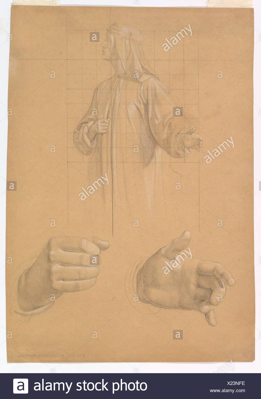 Study of a Standing Man with Headcloth and Two Studies of his Hands. Artist: Wilhelm Schadow (German, Berlin 1788-1862 Düsseldorf); Date: early to Stock Photo