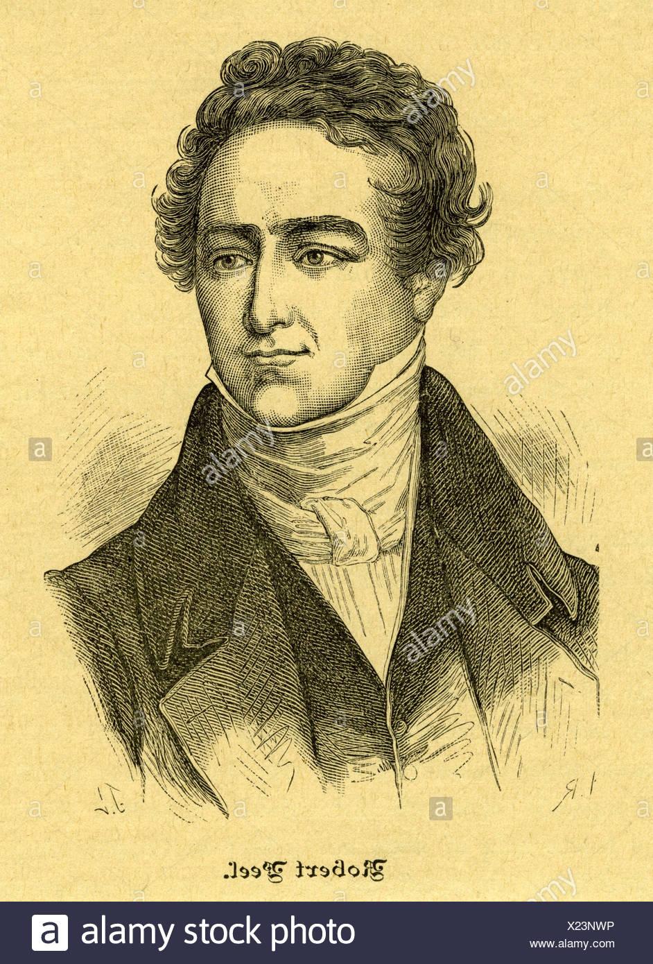 Peel, Robert, 5.2.1788 - 2.7.1850, British politician, Prime Minister 1834 - 1835 and 1841 - 1845, portrait, contemporay engravi - Stock Image