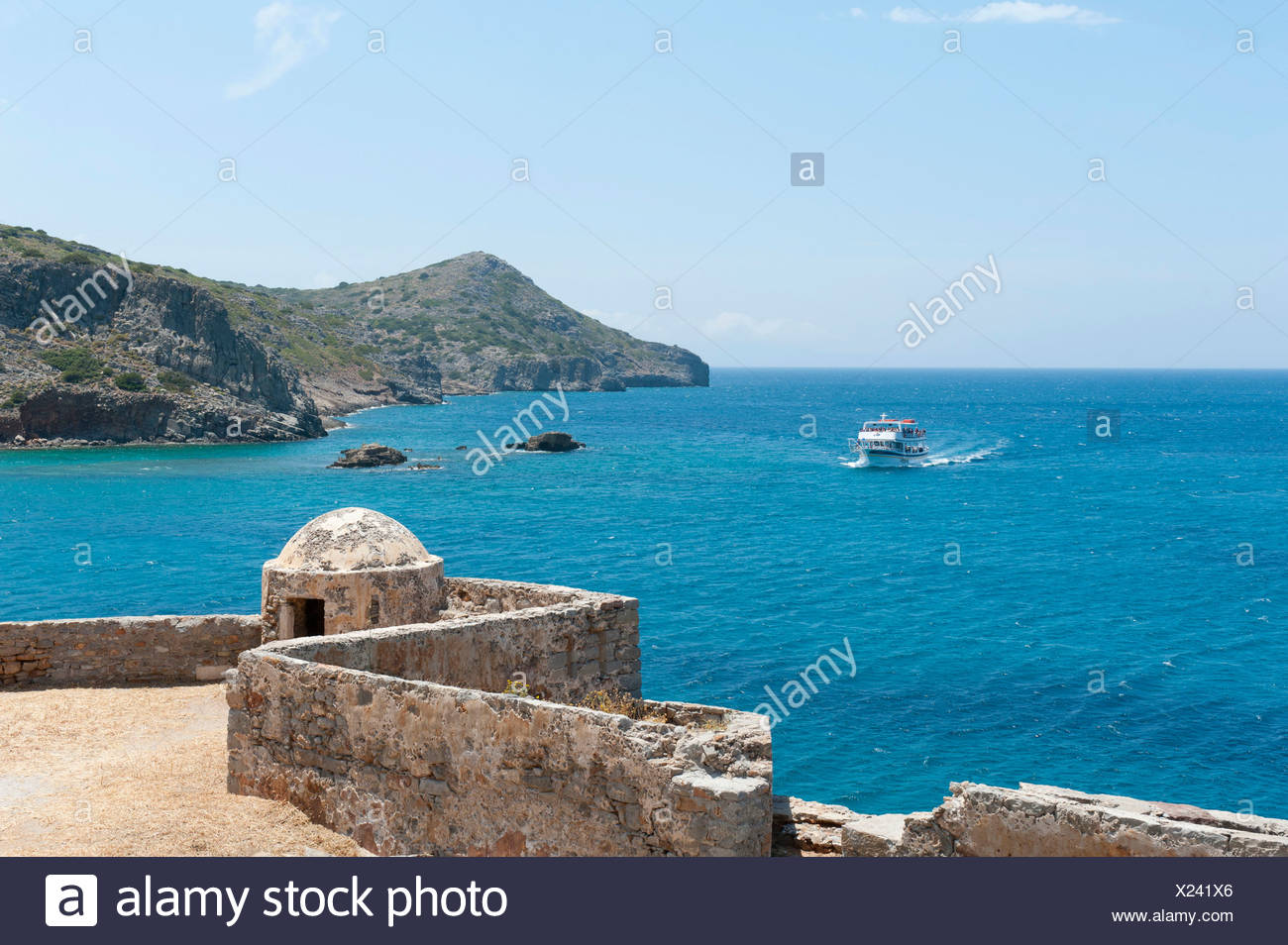 Old Venetian bastion, Spinalonga, Kalydon near Elounda, Gulf of Mirabello, Crete, Greece, Mediterranean, Europe - Stock Image