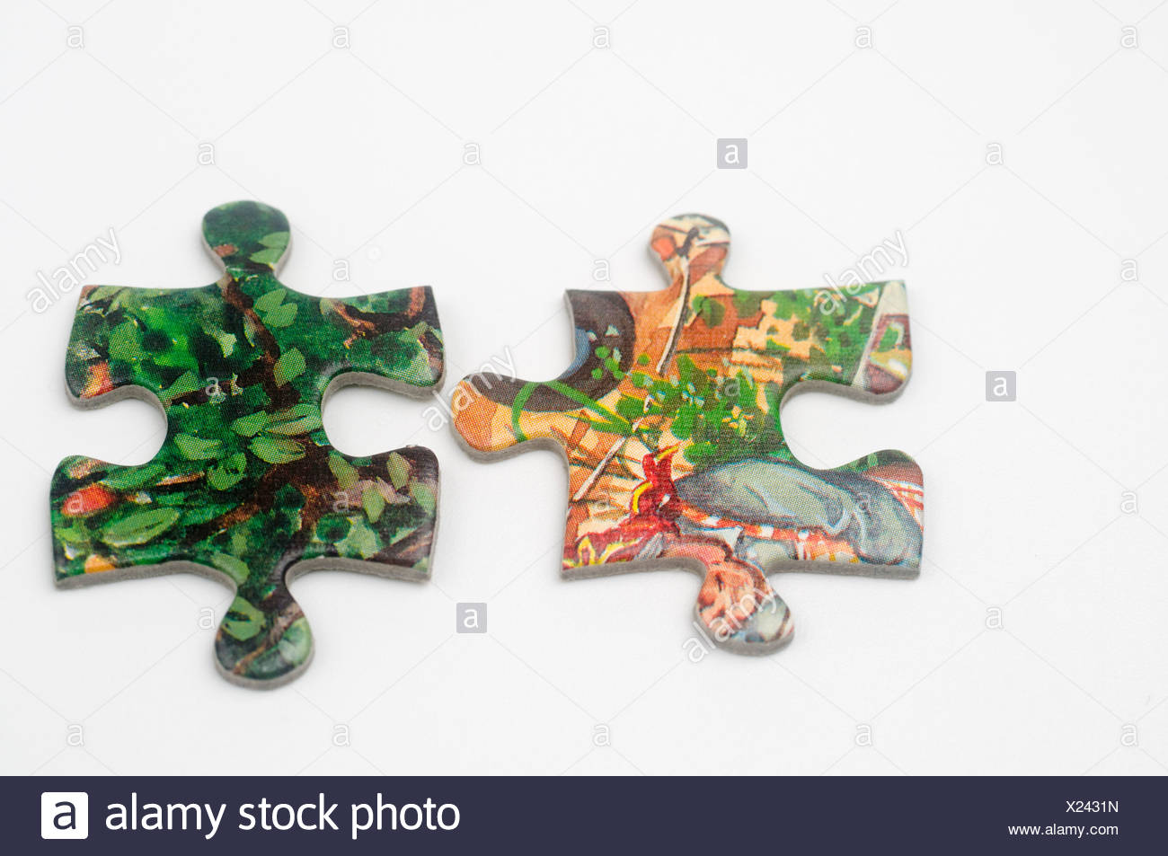 Cutout of non matching Jigsaw Puzzle pieces on white background - Stock Image