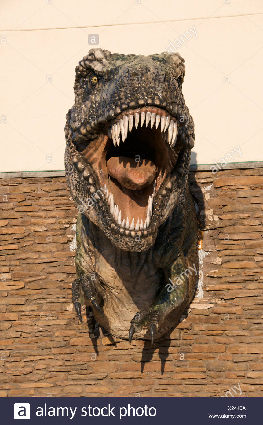 Tyrannosaurus replica in Drumheller, Alberta, Canada. - Stock Image