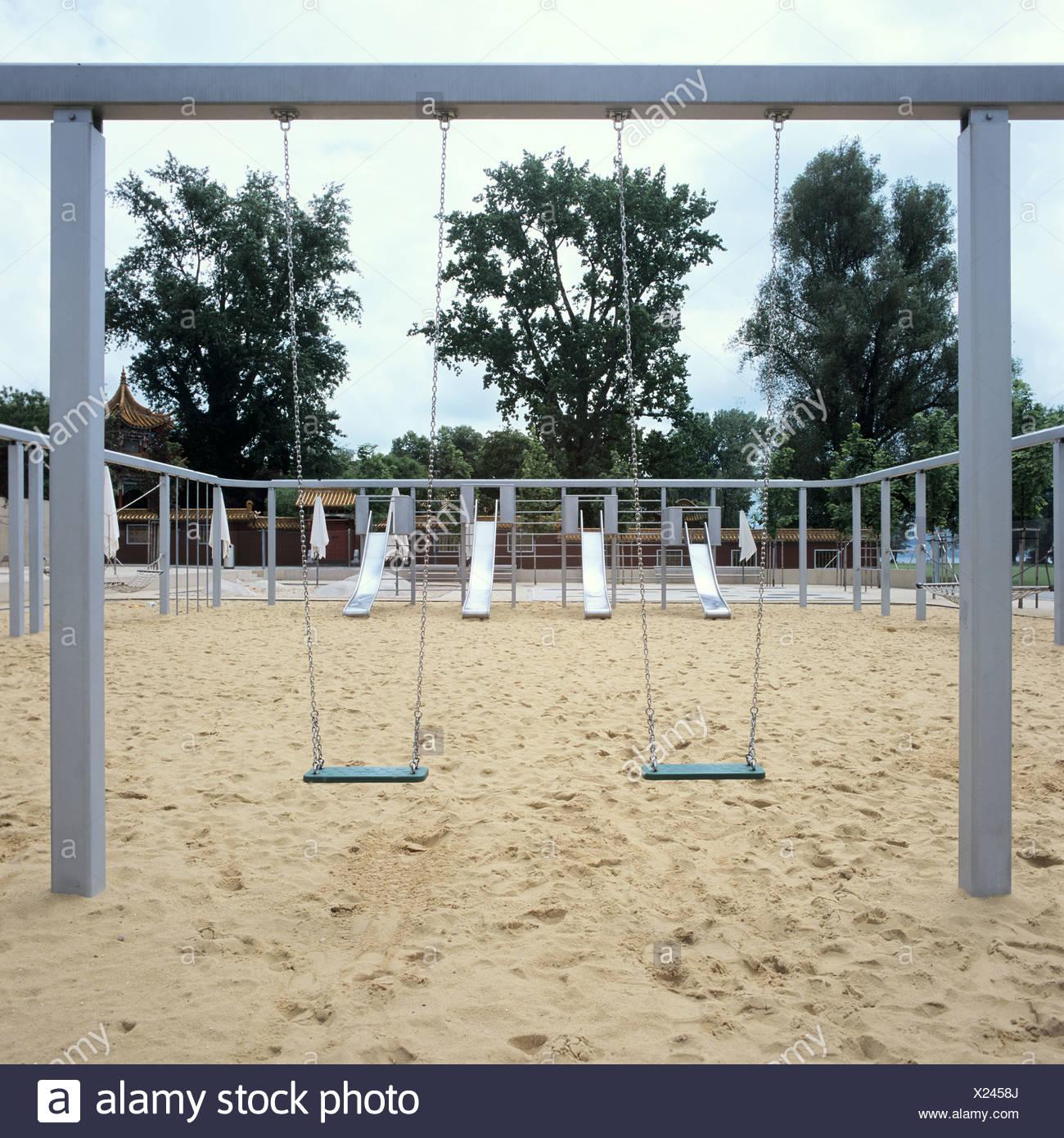 Zurich, Switzerland, is an empty playground at Seefeldquai - Stock Image