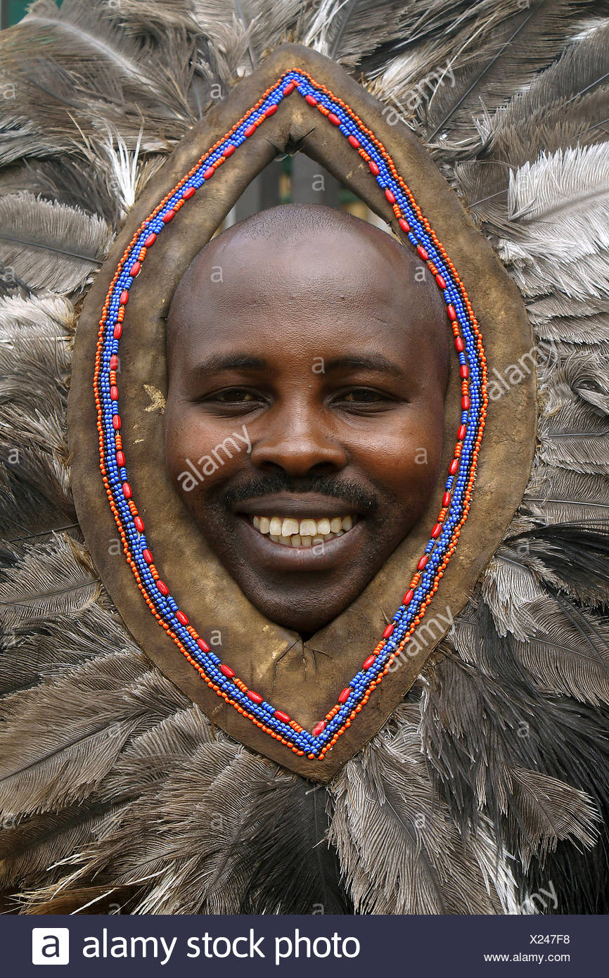 maasai warrior with traditional headgear, Kenya, Masai Mara - Stock Image