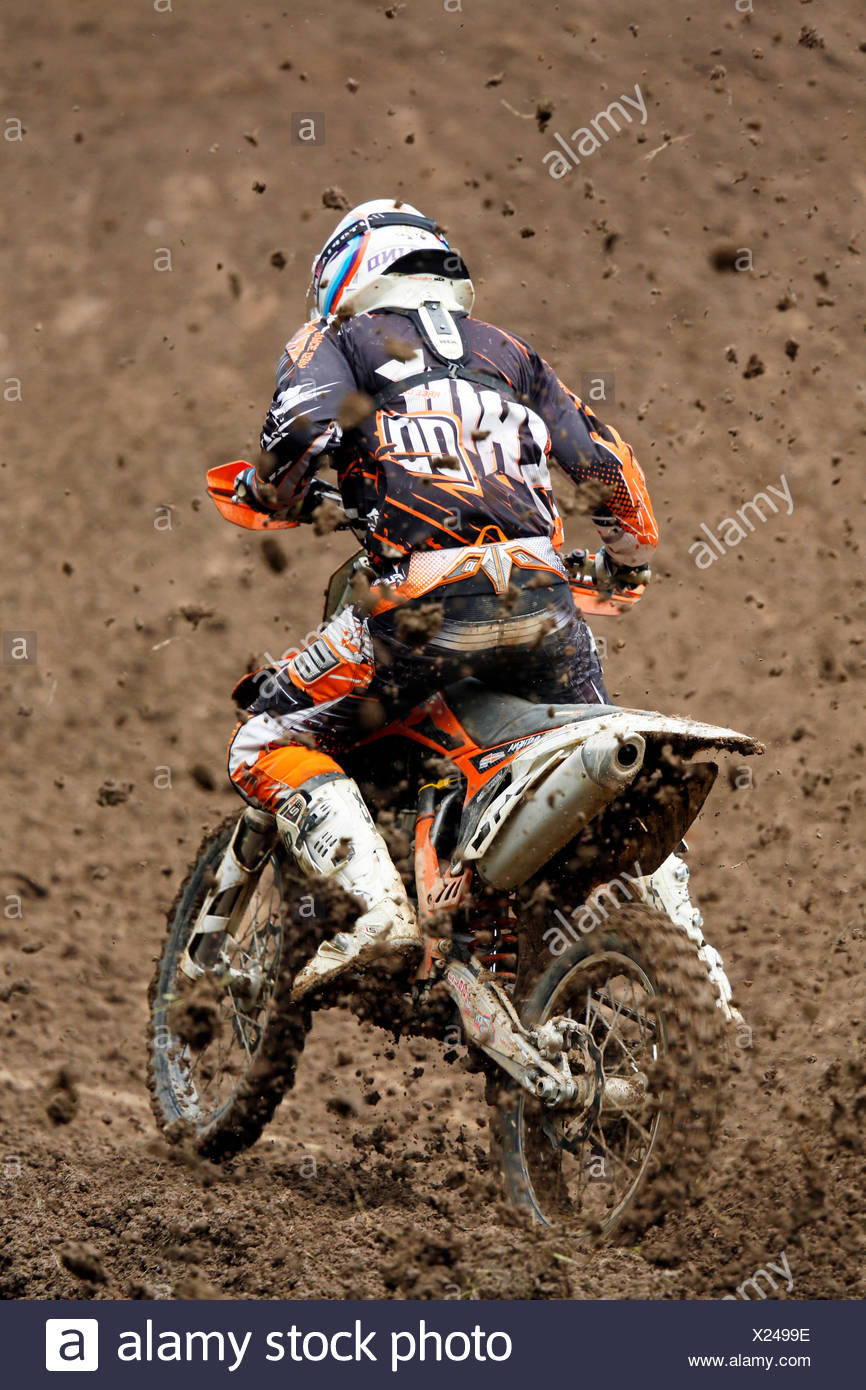 France, Normandy, Manche, Motocross. National MX1 Championship France 2014. Competitor during the race - Stock Image