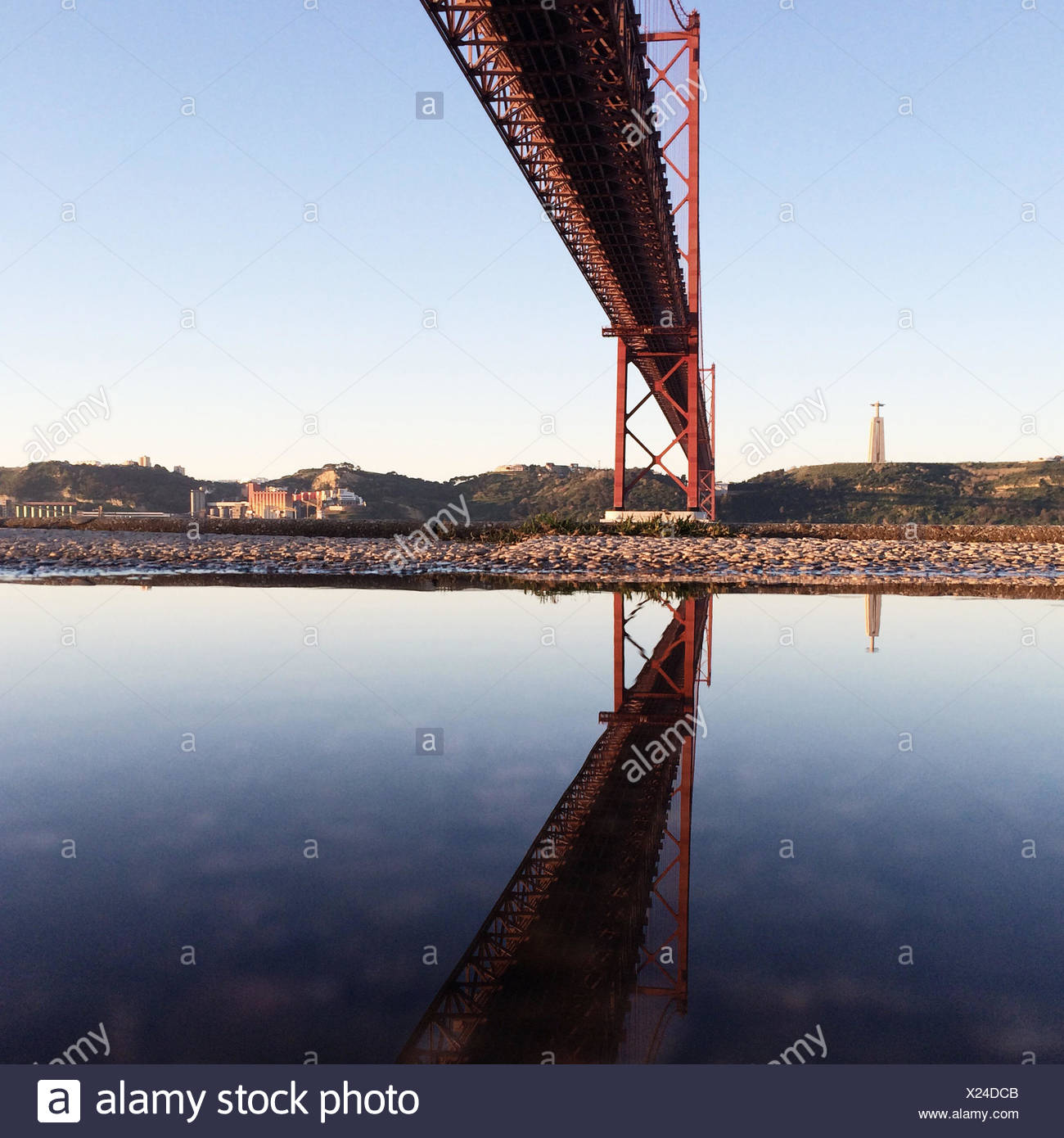 Bridge across a river, Portugal Stock Photo