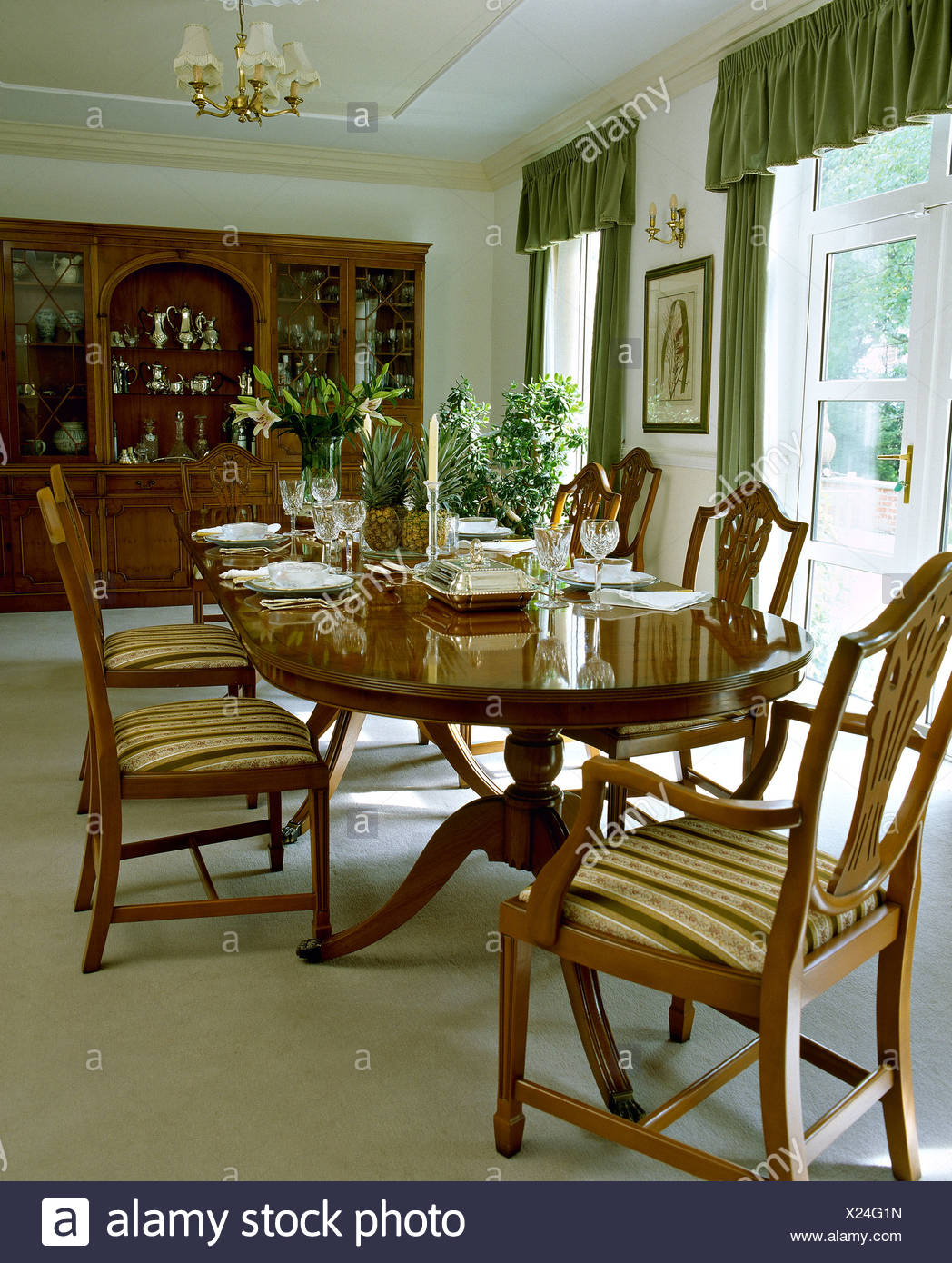 Awe Inspiring Oval Mahogany Table And Upholstered Chippendale Style Chairs Theyellowbook Wood Chair Design Ideas Theyellowbookinfo