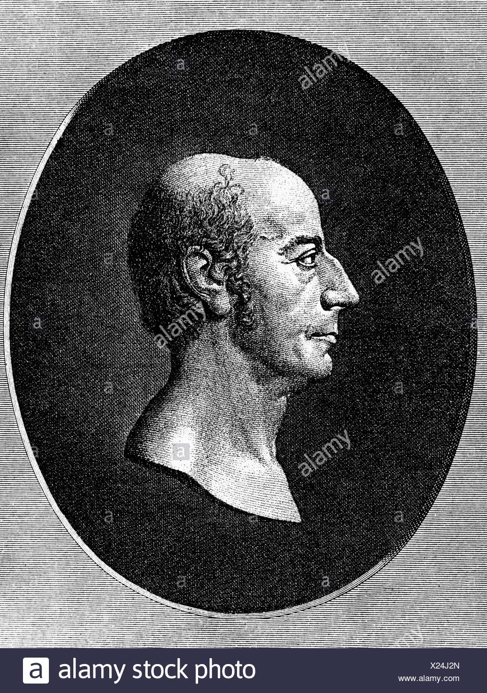 Jung-Stilling, Johann Heinrich 12.9.1740 - 2.4.1817, German author / writer, physician, teacher, portrait, copper engraving by A. Kessler after relief by v. Dannecker, facsimile, Artist's Copyright has not to be cleared - Stock Image