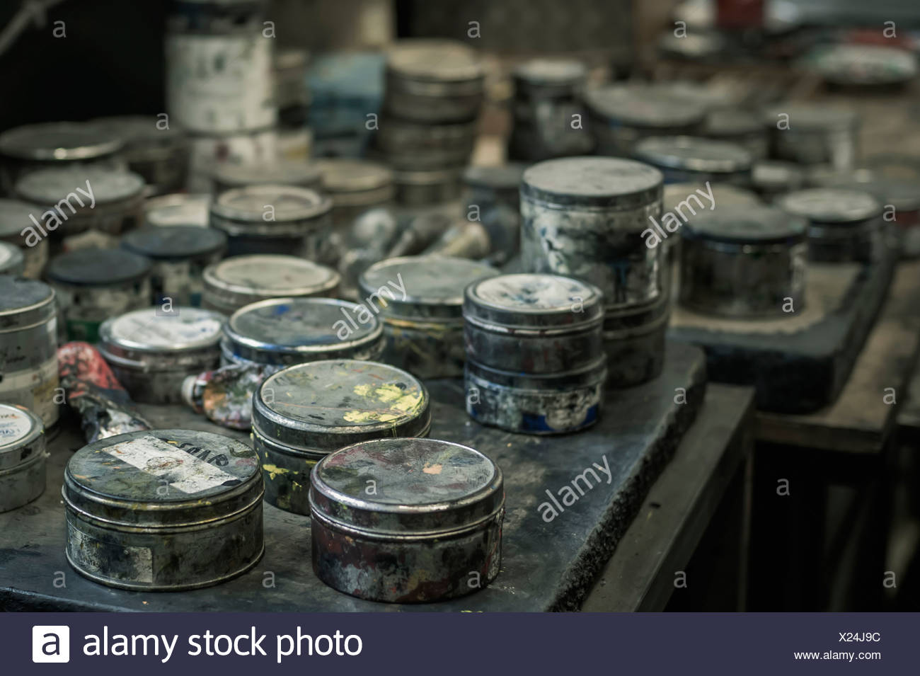 Cans in a printing house - Stock Image