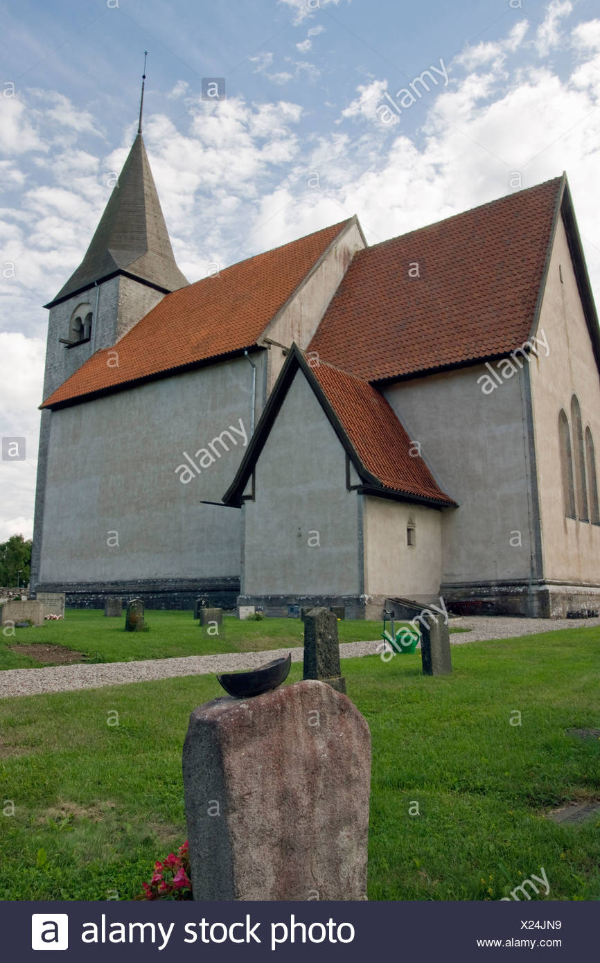 Church from Middle Ages in Bro, Gotland, Sweden, Europe - Stock Image