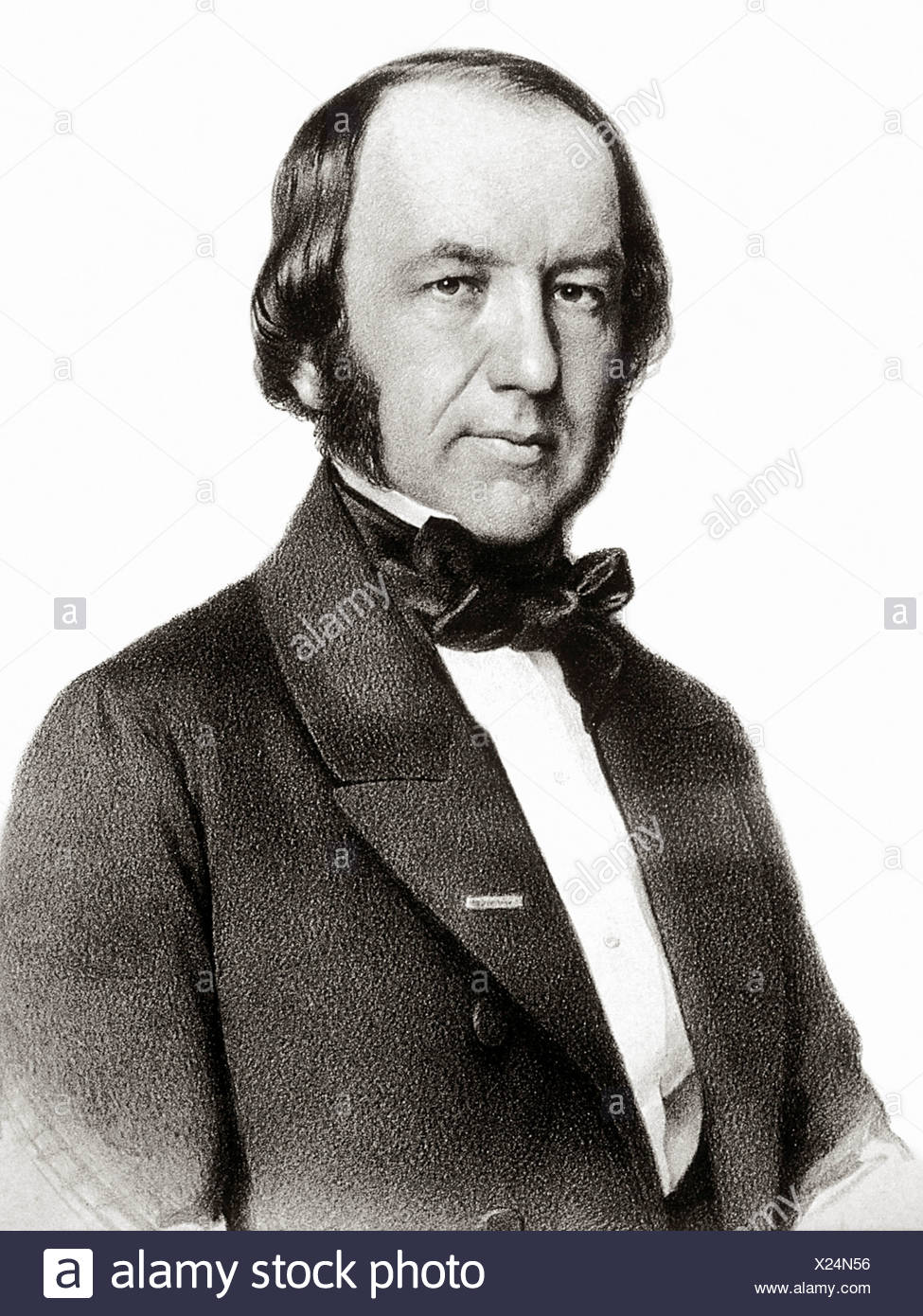 A portrait French physiologist Claude Bernard (1813-1878). He was author 'An Introduction Study Experimental Medicine' which - Stock Image