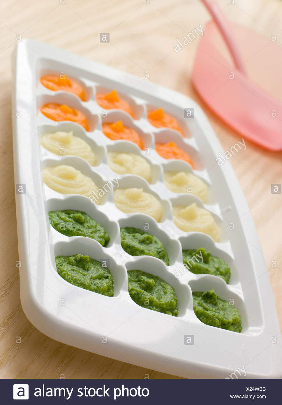 Pureed Baby Food in a Ice Cube Tray - Stock Image
