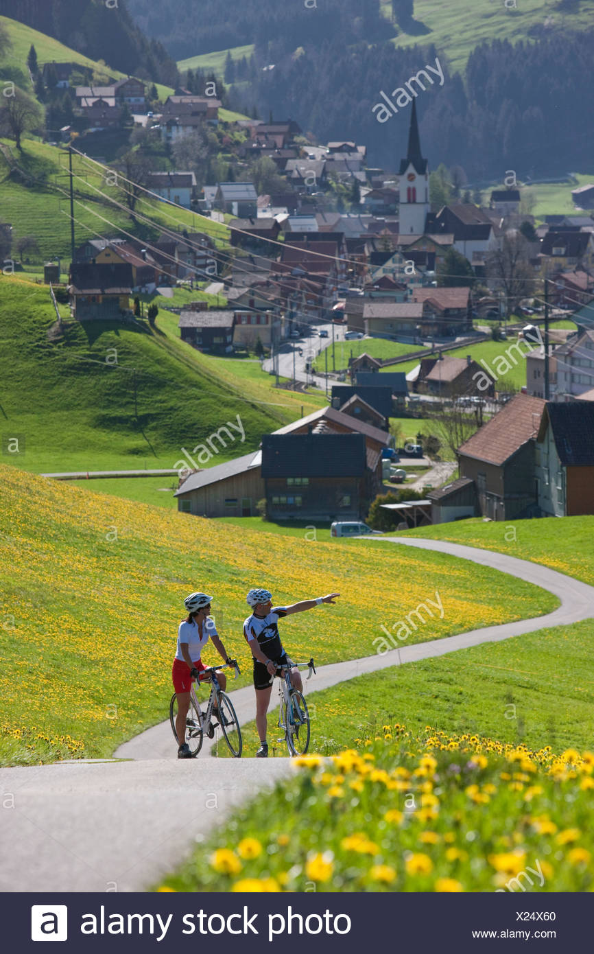 Cyclist, biker, Appenzell area, spring, bicycle, bicycles, bike, riding a bicycle, canton, Appenzell, Innerroden, Alpstein, Gont - Stock Image