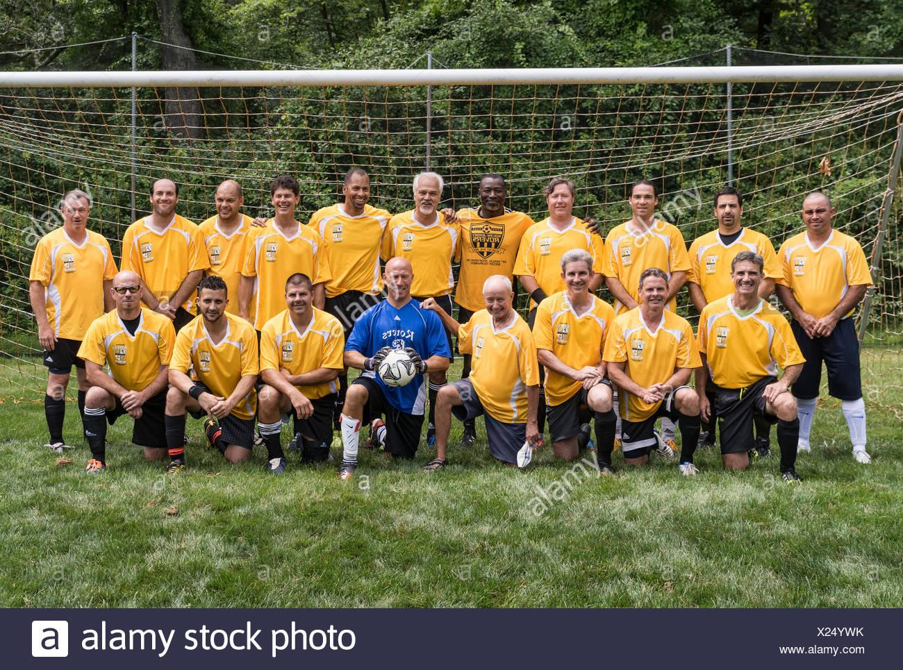 Master division amateur soccer team. - Stock Image