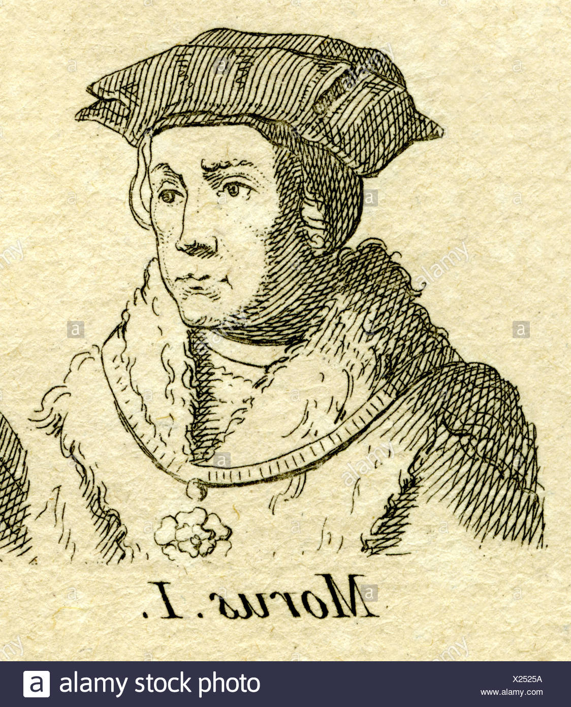 More, Thomas, 7.2.1478 - 6.7.1535, English philosopher and politician, portrait, engraving, 18th century, , Artist's Copyright has not to be cleared - Stock Image