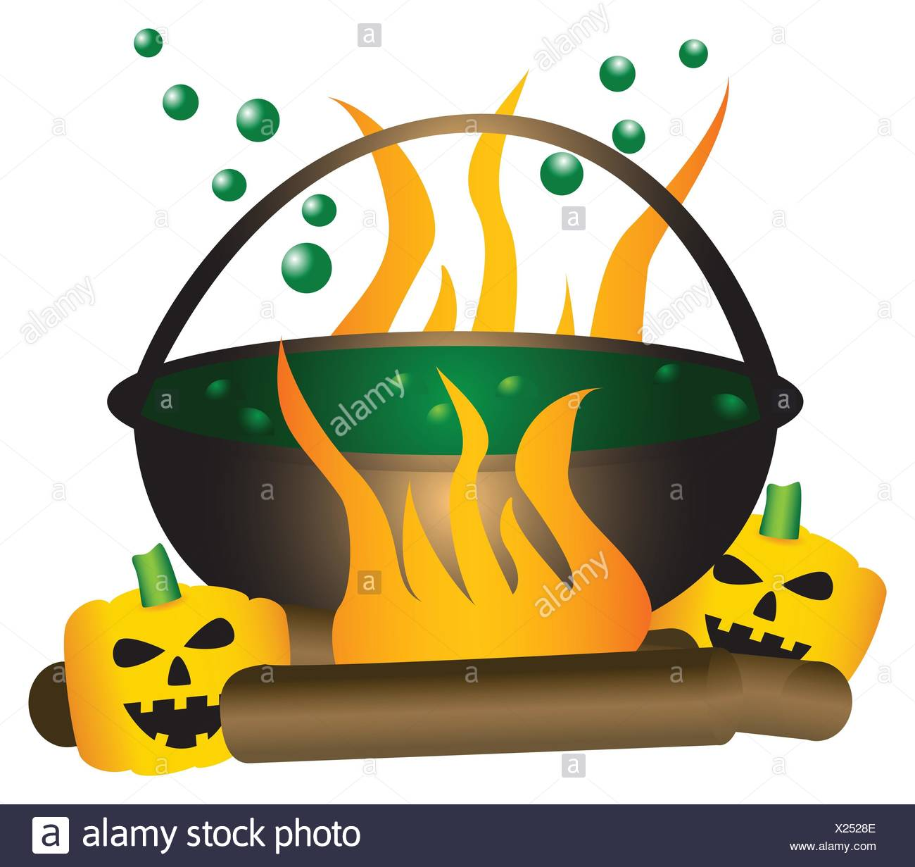 halloween theme boiling witch cauldron with green substance in it with a large fire and pumpkins underneath