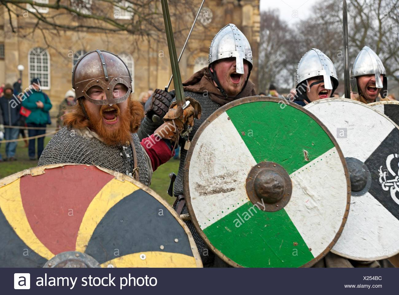 Vikings and Anglo Saxons at the Viking Festival York North Yorkshire England UK United Kingdom GB Great Britain. - Stock Image