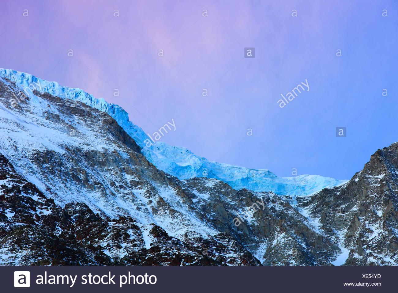 Evening mood, slopes, inclinations, glacier, slope glacier, Lötschental, Valais, Switzerland, Europe, alpine, pink, sky, freezes - Stock Image