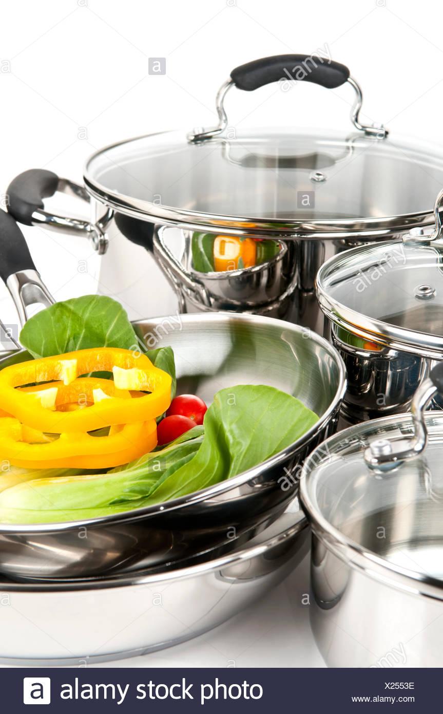 steel pots pans - Stock Image