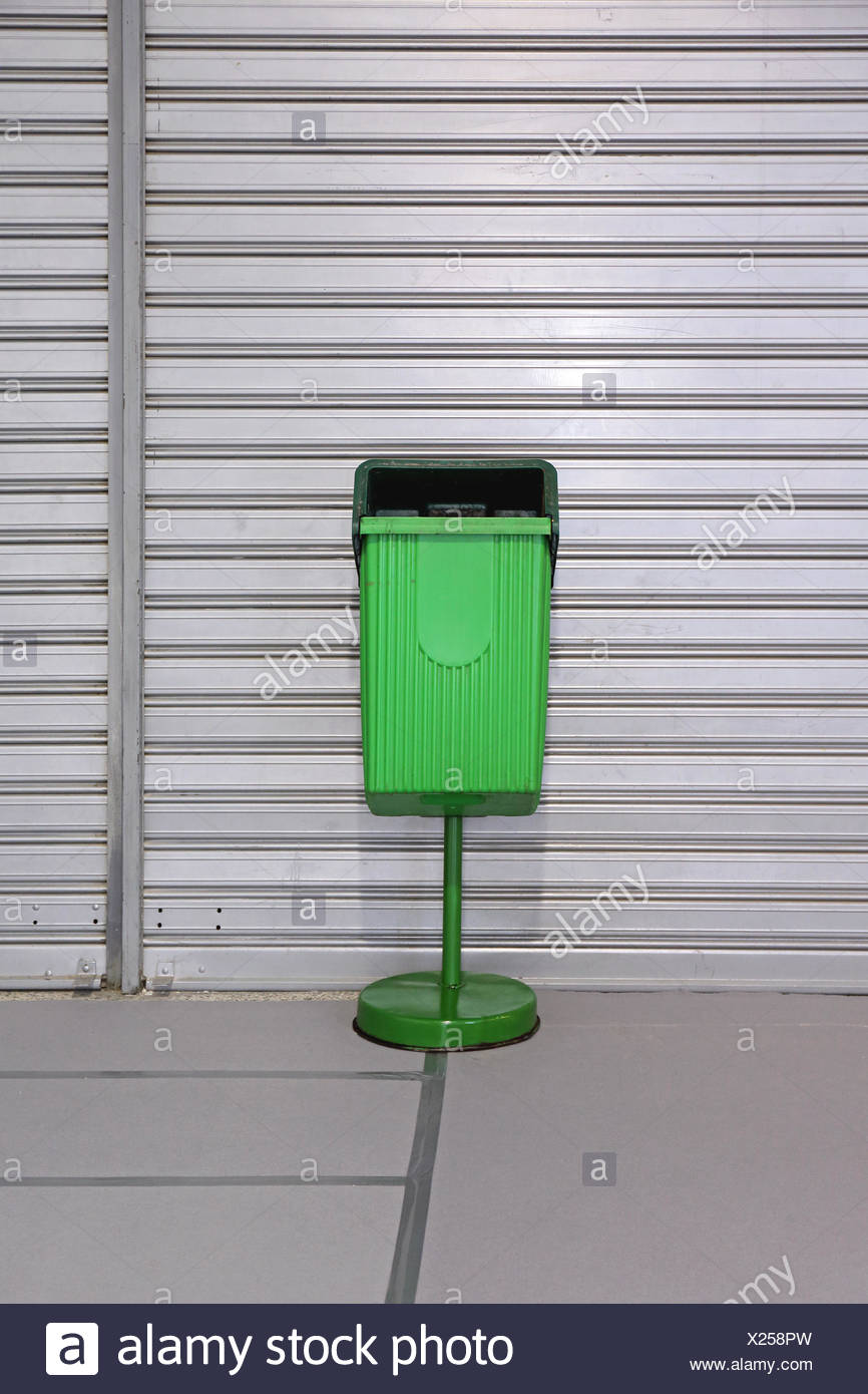 Green Trash Can Stock Photo