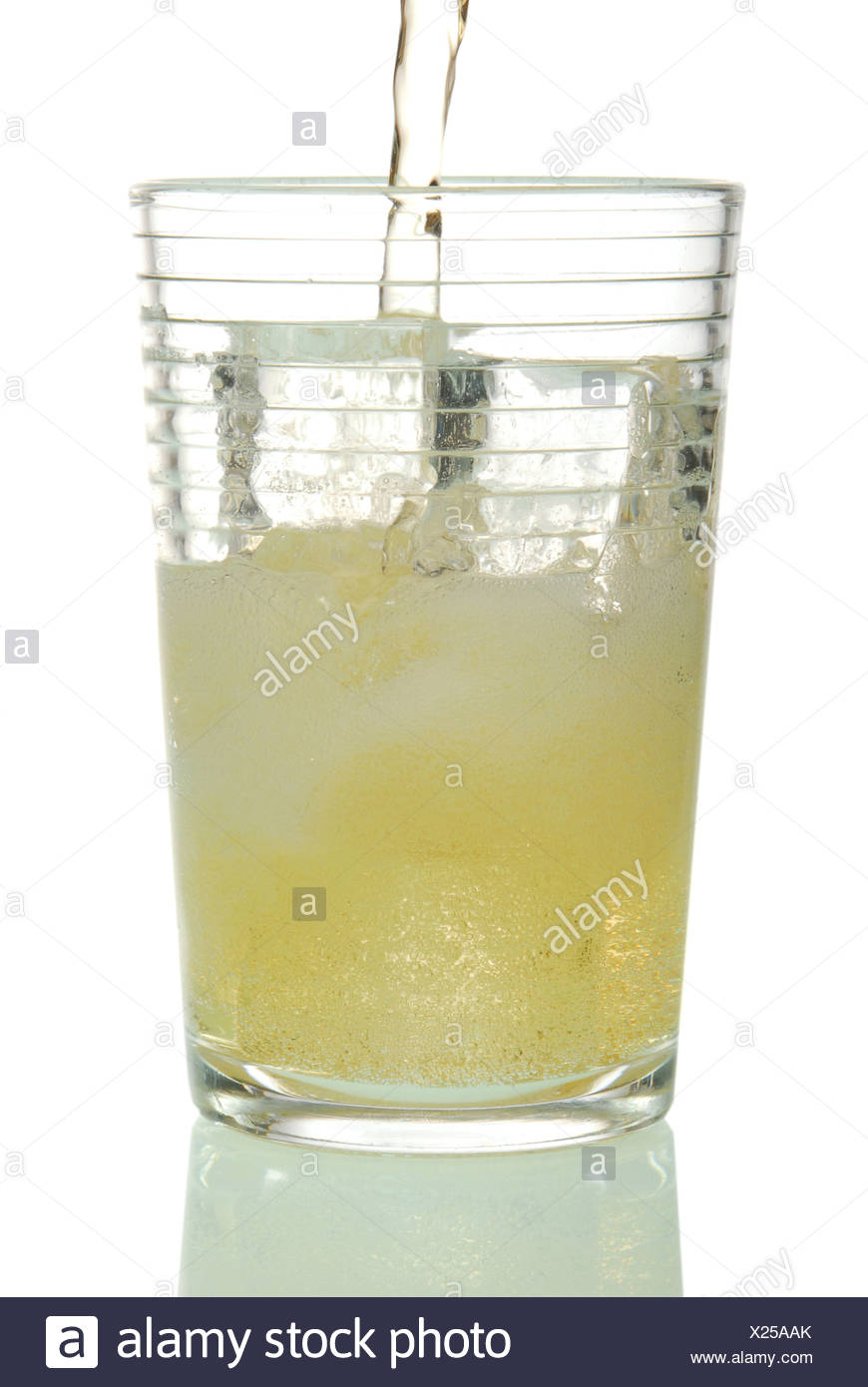Drink in a glass with ice cubes Stock Photo