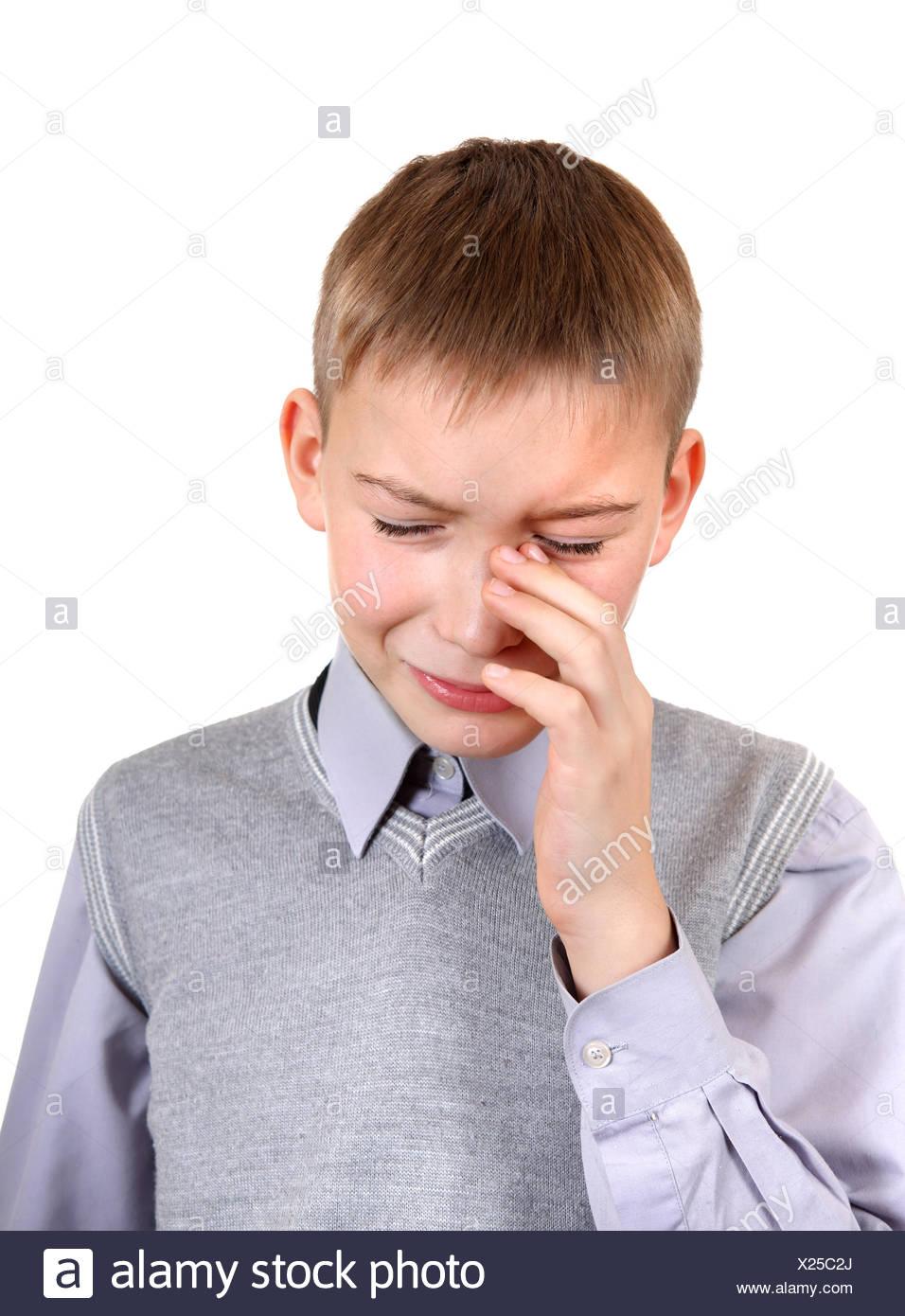 Sad Boy is Weeps - Stock Image