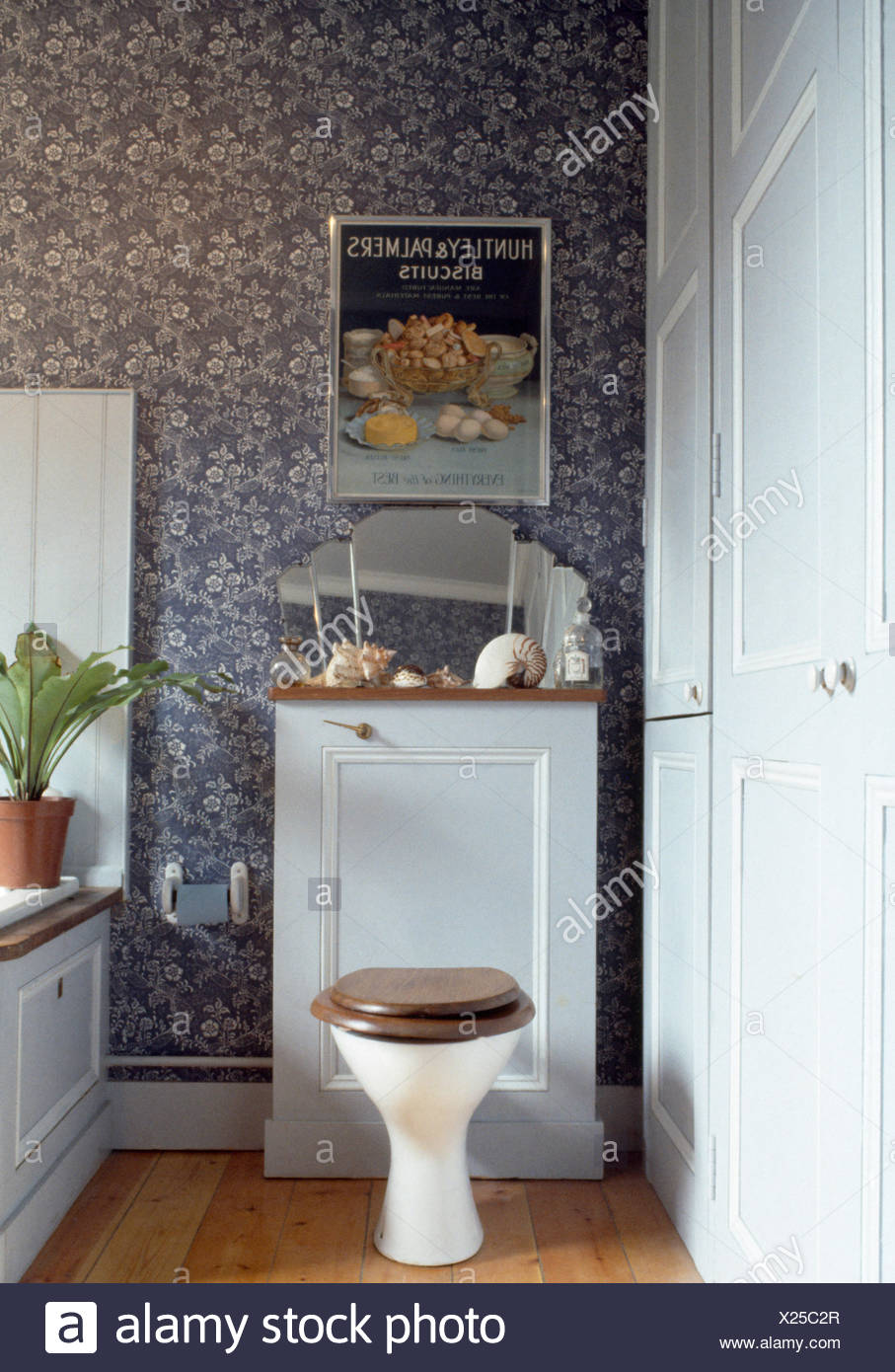 Toilet in seventies bathroom with blue wallpaper - Stock Image