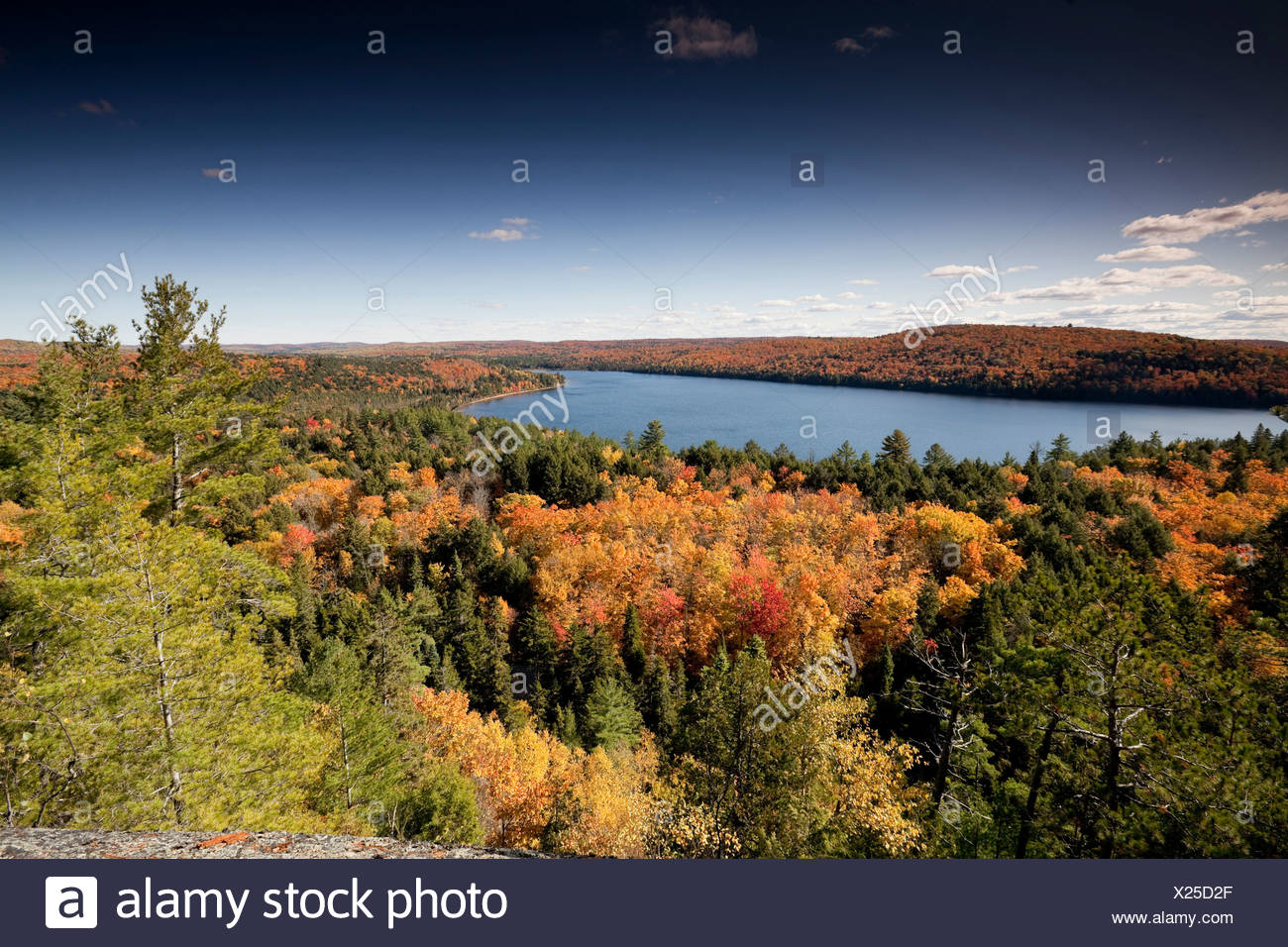 Looking out Rock Lake Autumn high vantage point - Stock Image