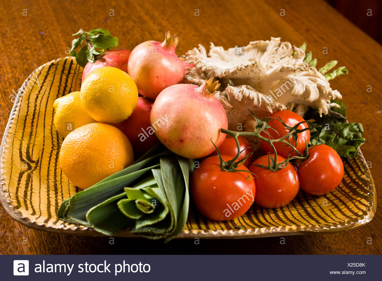 A collections of fruits and vegetables used in colonial recipes. - Stock Image