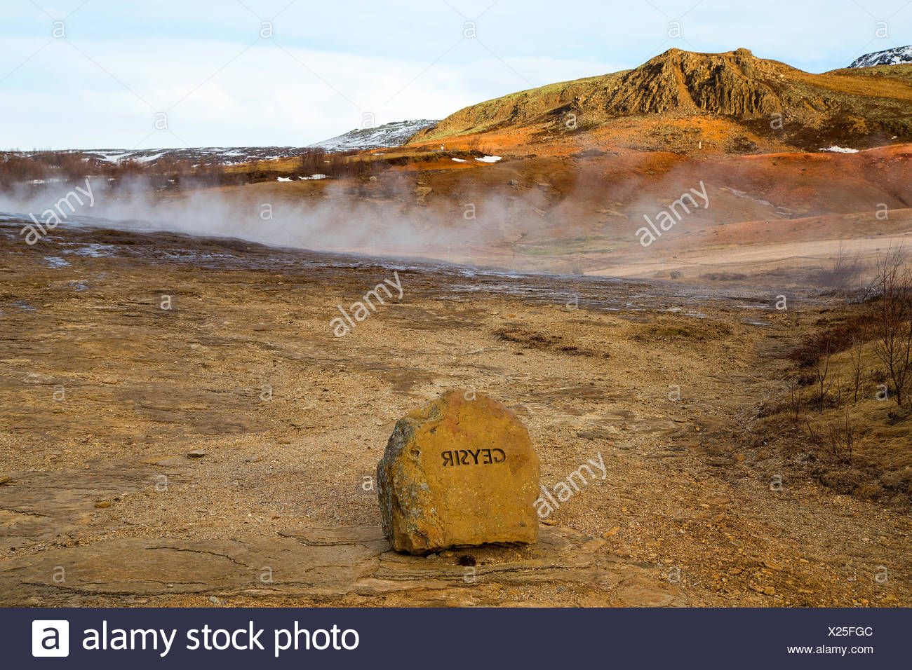 The Geysir geyser in Haukadalur Valley, Iceland, is the oldest known geyser. Stock Photo