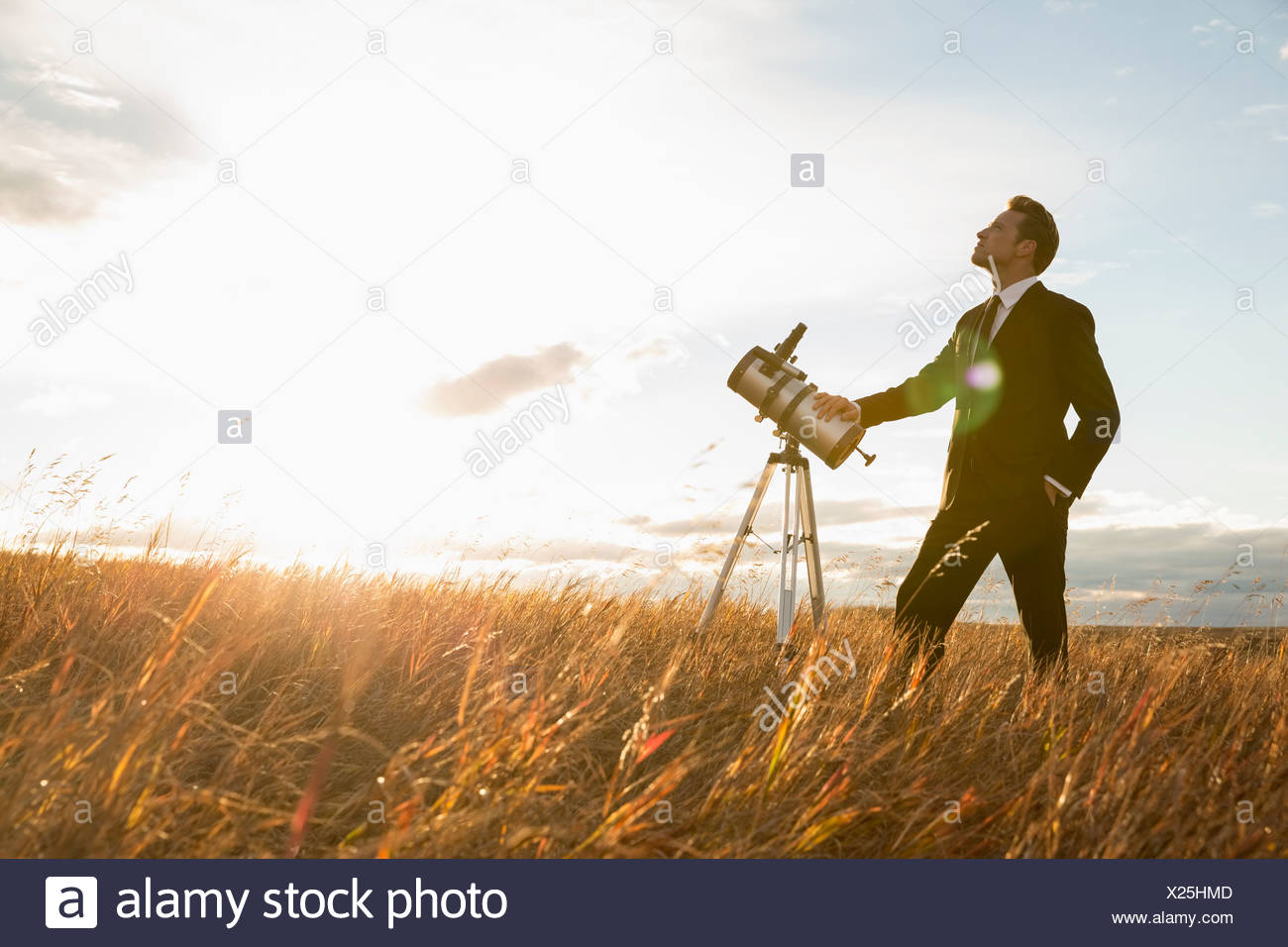 Businessman with telescope on field - Stock Image