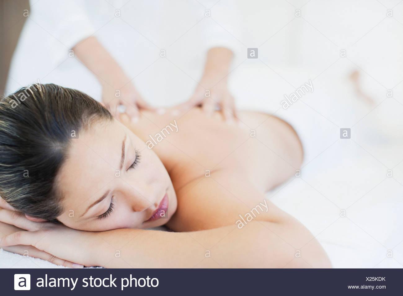 Woman receiving massage Stock Photo