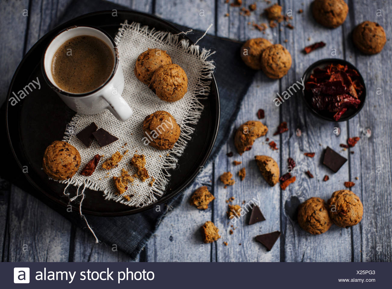 Bittersweet chocolate cookies with dried sweet pepper Stock Photo