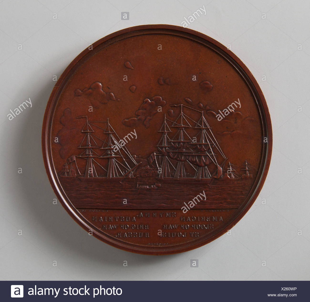 Medal to Captain Duncan N. Ingraham. Maker: Seth Eastman (1808-1875); Maker: James Barton Longacre (American, Delaware County, Pennsylvania 1794-1869 - Stock Image