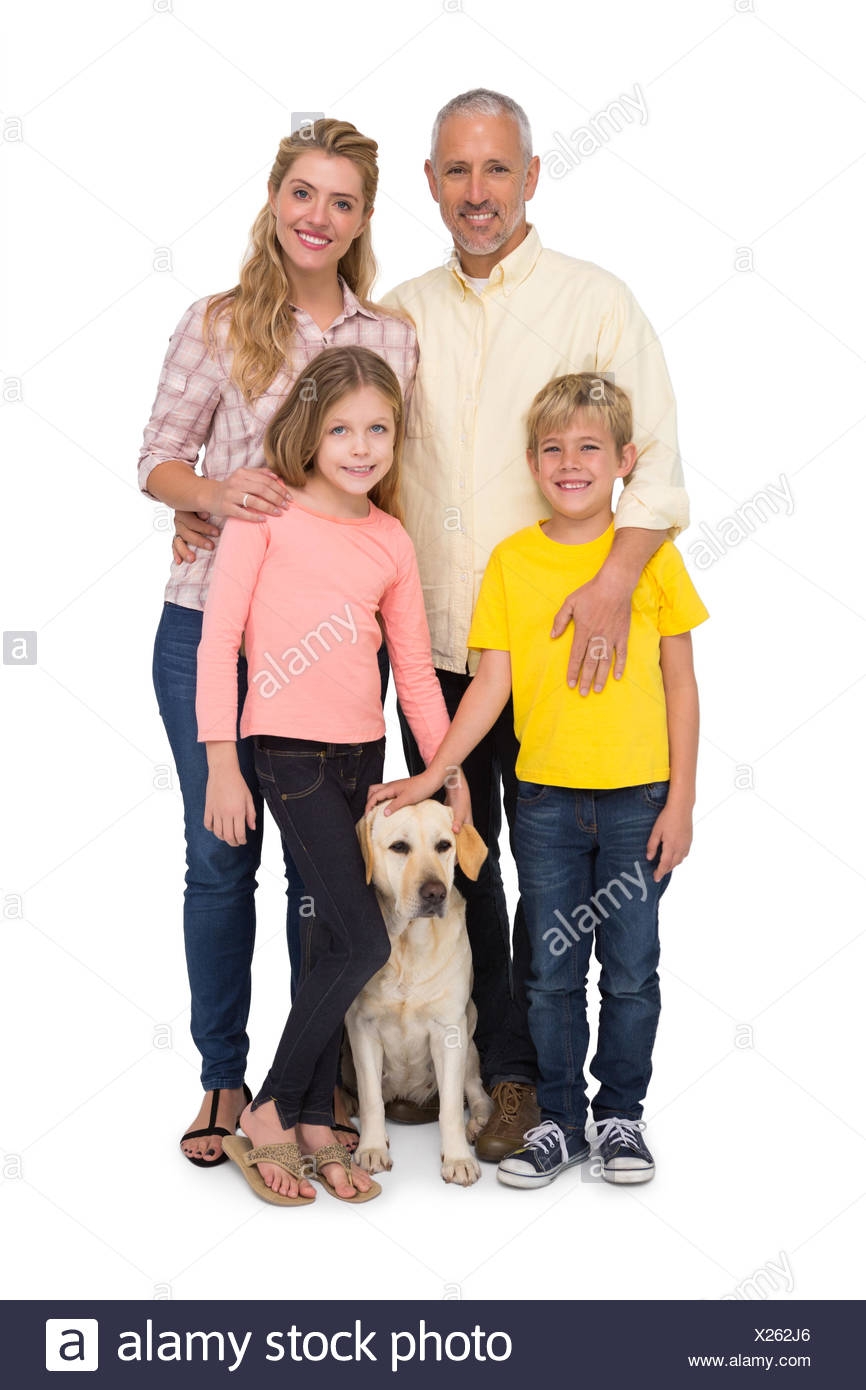 Happy family with their pet dog - Stock Image
