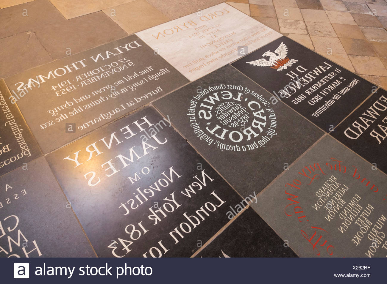 England, London, Westminster Abbey, Poets Corner, Memorial Stones to Famous Writers - Stock Image