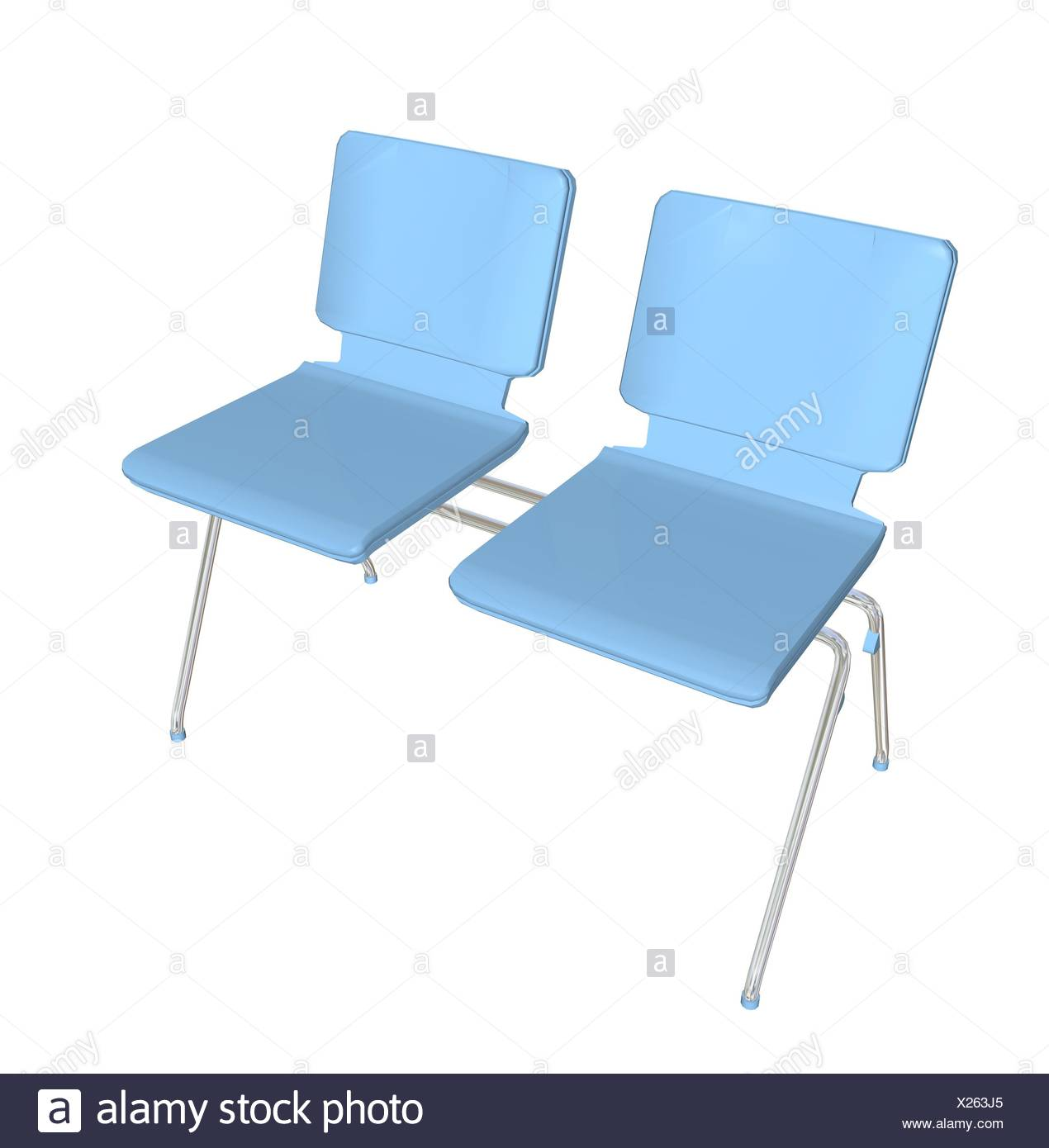 Two Seater Stackable Plastic Chair Blue Metal Legs 3d