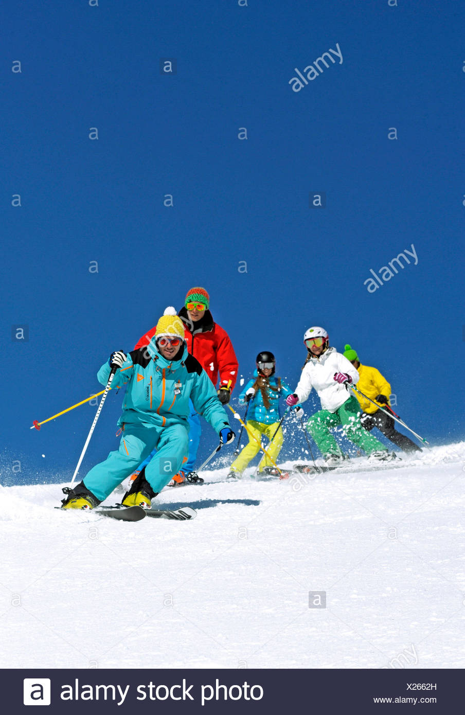 skiers having a fantastic ski-run, France, Savoie, La Plagne - Stock Image