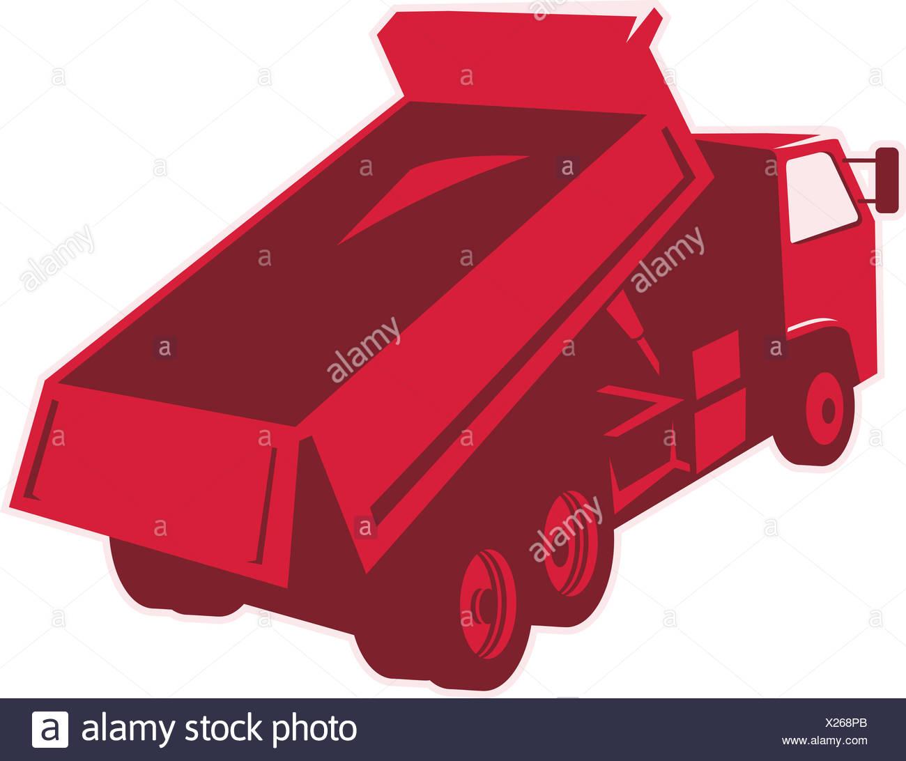 Dump Dumper Truck Dumping Load Rear - Stock Image