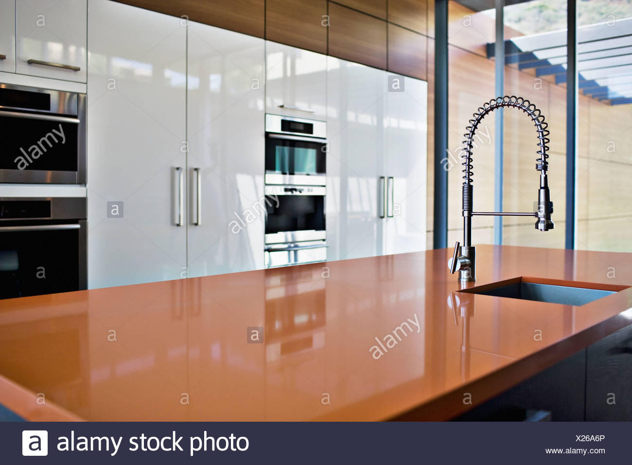 Interior of modern kitchen with spray nozzle Stock Photo ...