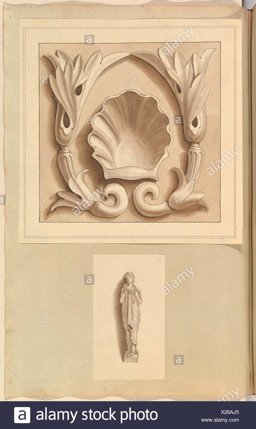 Carved Stone Ornamental Panel and Classical Female Figure. Artist: Alfred Henry Forrester [Alfred Crowquill] (British, London 1804-1872 London); - Stock Image