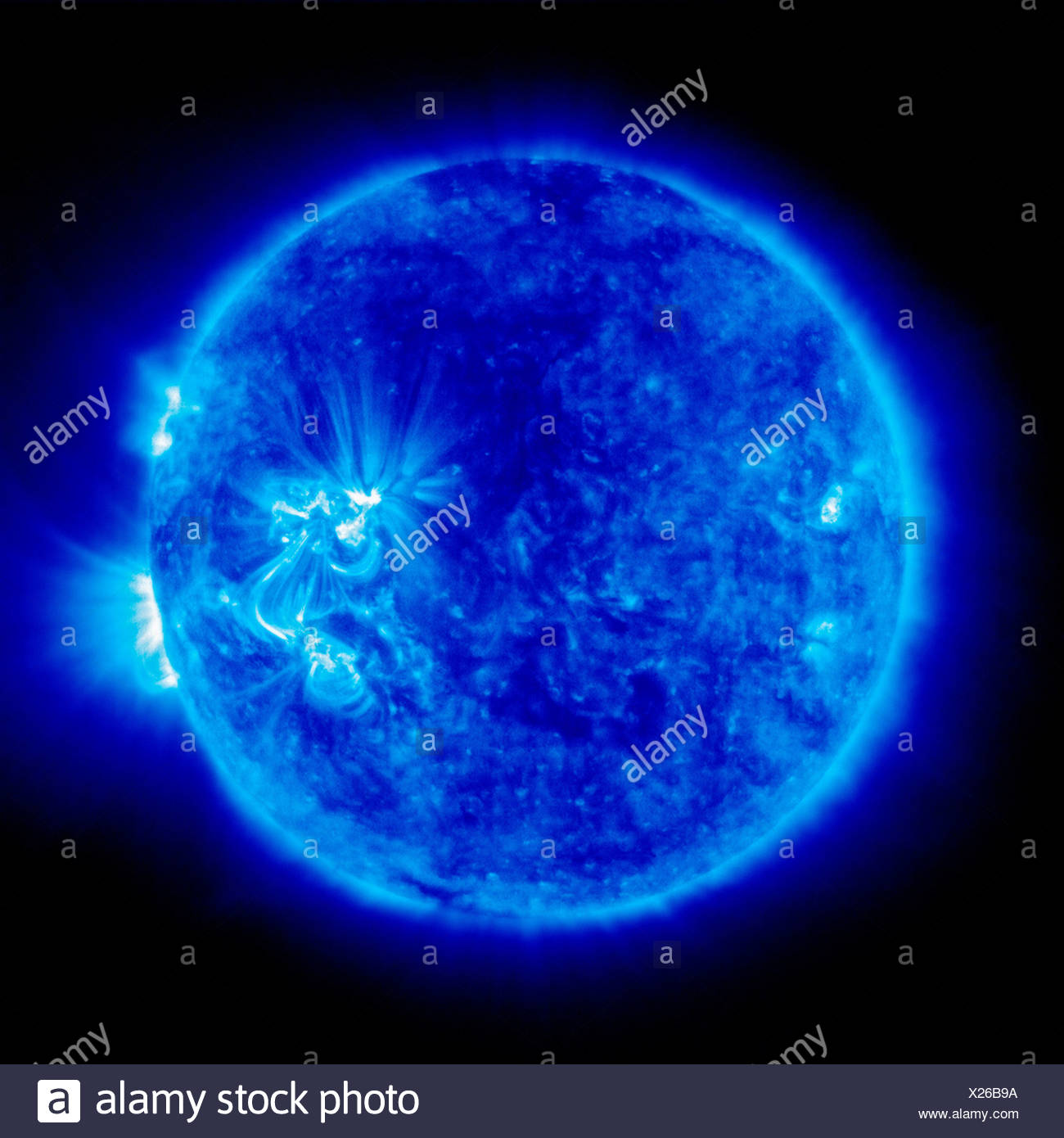 An image Sun taken Extreme ultraviolet Imaging Telescope (EIT) Solar Heliospheric Observatory (SOHO) 171 angstroms shows loops - Stock Image
