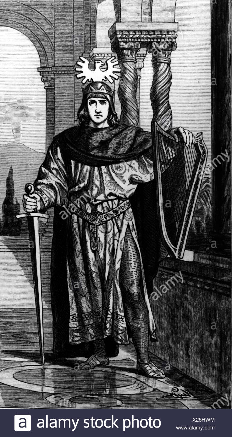 Frederick II, 26.12.1194 - 13.12.1250, Holy Roman Emperor 22.11.1220 - 13.12.1250, genre picture, wood engraving, 19th century, Additional-Rights-Clearances-NA - Stock Image