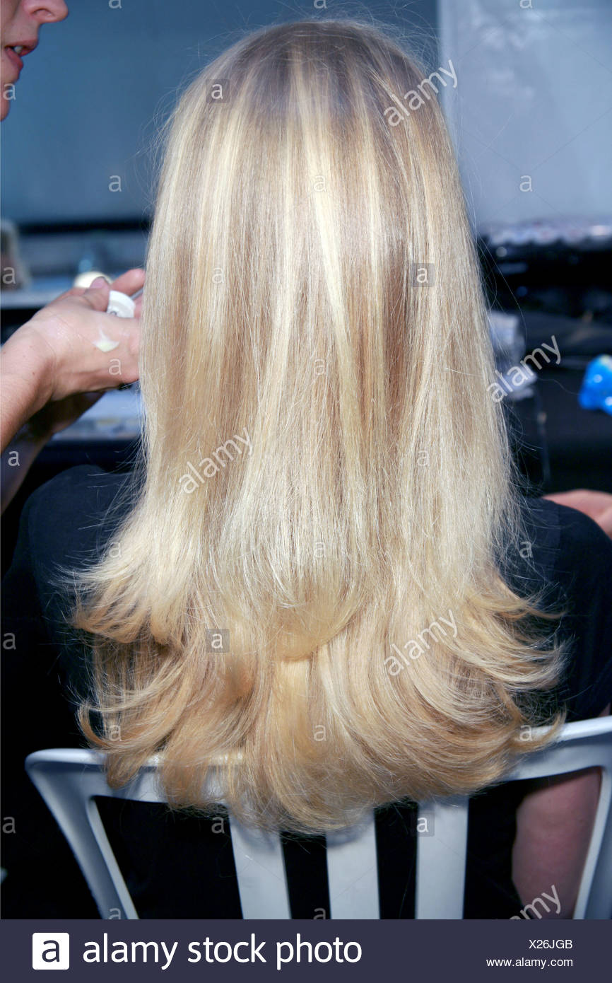 Chloe Backstage Paris Ready To Wear Spring Summer Back View Of Blonde Female Straight Layered Hair Flicked Ends Having Her Stock Photo Alamy