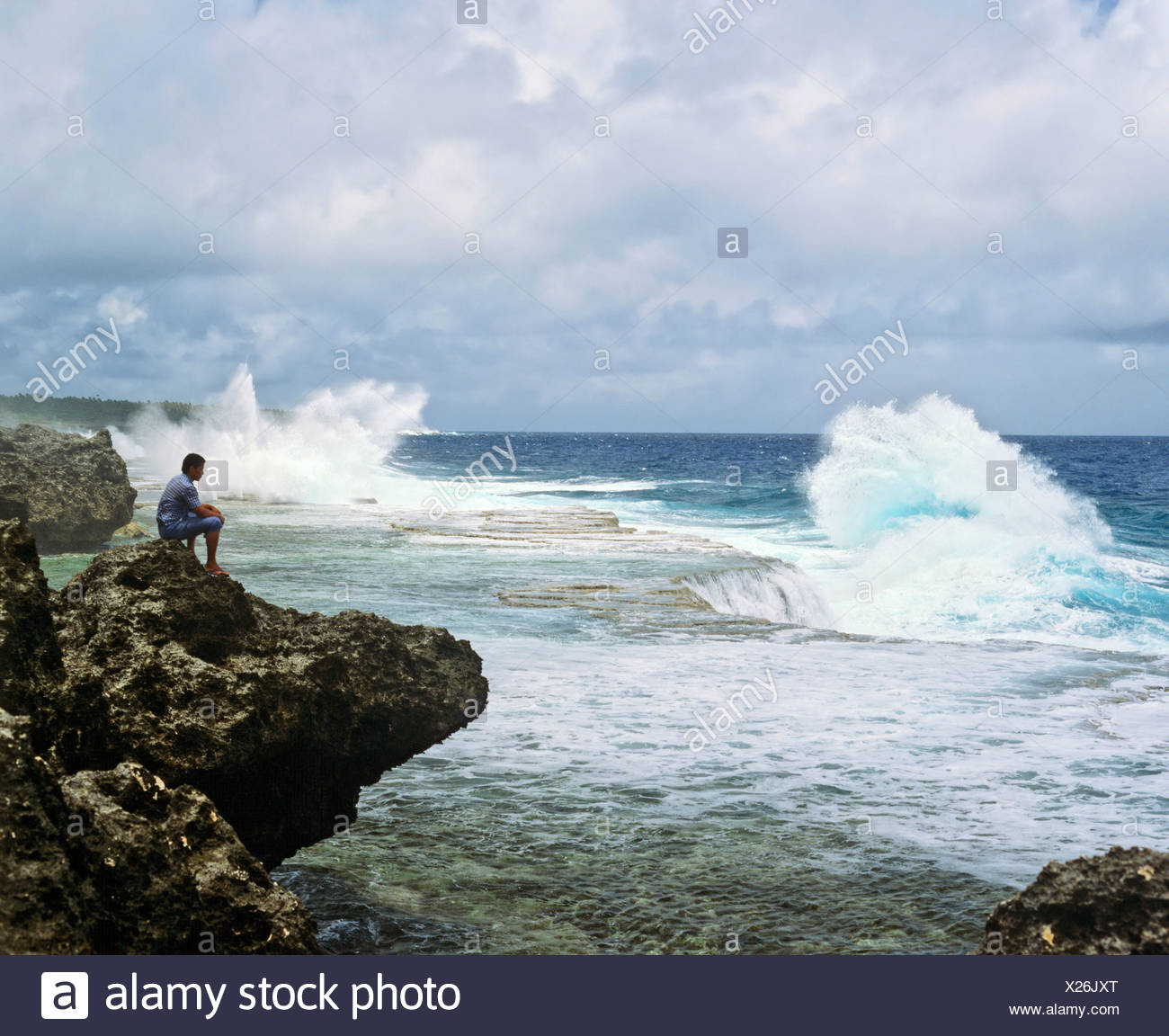 Rocky coast, Nukuʻalofa, Tonga, South Pacific, Oceania - Stock Image
